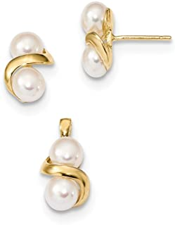 14ct 5-6mm White Button Freshwater Cultured Pearl Earrings and Pendant Set