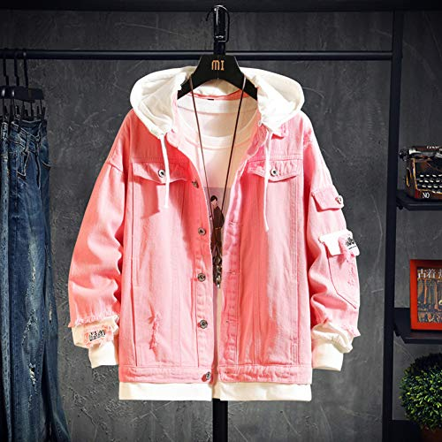 GUOJK Pink Black Green Jeans Jacket Men Slim Streetwear Ripped Denim Jacket Hoodie Men Hip Hop Bomber Jacket Homme Autumn