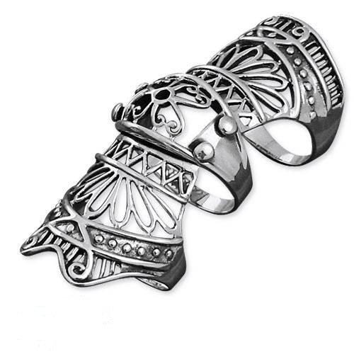 Gothic Gliederring Gelenkring Edelstahl Vampir Ring Neo Viktorianisch (59 (18.8))