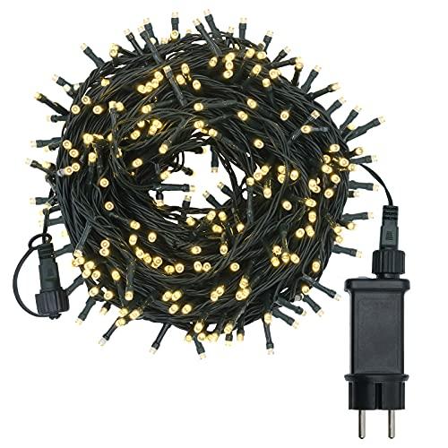 LED Lichterkette Weihnachtsbeleuchtung, warmweiß 30m 300 LEDs mit 8 Lichtmodi, reiner Kupferdraht, IP44 Wasserdicht für Außen und Innen, EU-Stecker, Lichterkette für Garten Party Weihnachten Halloween