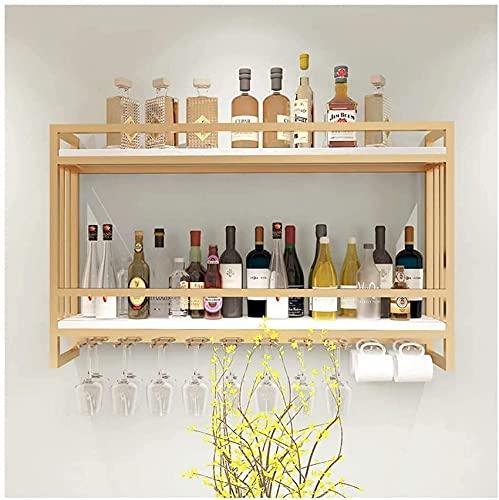 FFYN Hierro Forjado nórdico, botellero de Madera Maciza, gabinete de Vino para Colgar en la Pared, Estante de exhibición de Vino de Pared Creativo, Estante de Vino Colgante, Estante, or