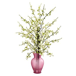 Nearly Natural Cherry Blossom Artificial Rose Vase Silk Arrangements, White