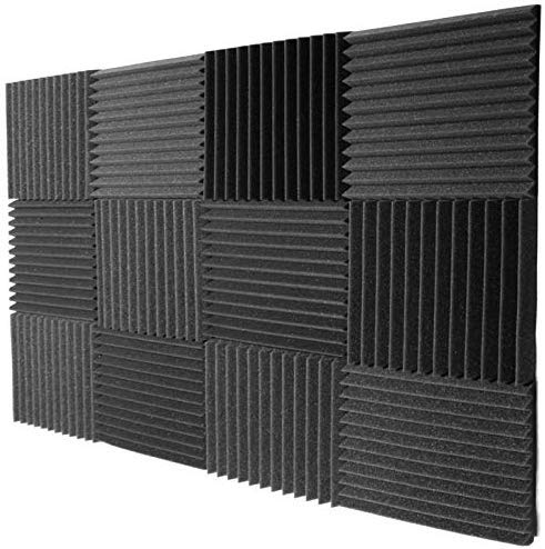 Mybecca 12 PACK Acoustic Foam Wedge Soundproofing Wall Tiles 12' X 12' X 1', Charcoal