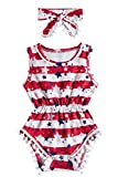 Newborn Girls 4th of July Jumpsuits 3D Printed Red White Stripe and Stars Onesie for Babys Summer Sleeveless Pom Pom Lace One Piece Playsuits with Headband Boys Casual Party Wear Outfits, 0-3 Months