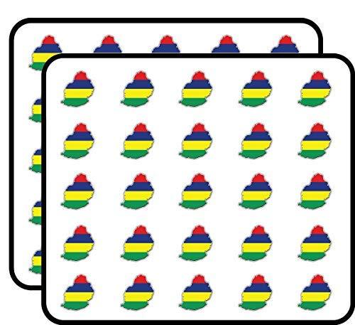 Mauritius Kaart Vlag Vinyl Stickers Grappige Leuke Voor Kinderen DIY Ambachten Scrapbooking, Laptop, Bumper Auto Stickers, Stickers voor Kinderen, 50 Pack