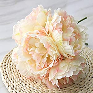Artificial and Dried Flower 5/7 Heads Peonies Rosemary Artificial Flowers Pink Silk Fake Flores for Party Home Wedding Decor Valentine's DayFloral – ( Color: B-Light-Yellow )