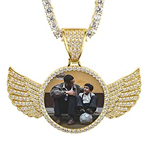 YIMERAIRE Chain Pendant Hip Hop Jewelry Picture Pendant Necklace for Men with Tennis Chain Angel Wing Necklace with Pendant Custom Jewelry