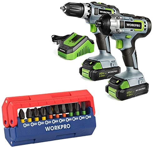 WORKPRO 20V Cordless Drill Combo Kit with 13-Piece Impact Bit Set