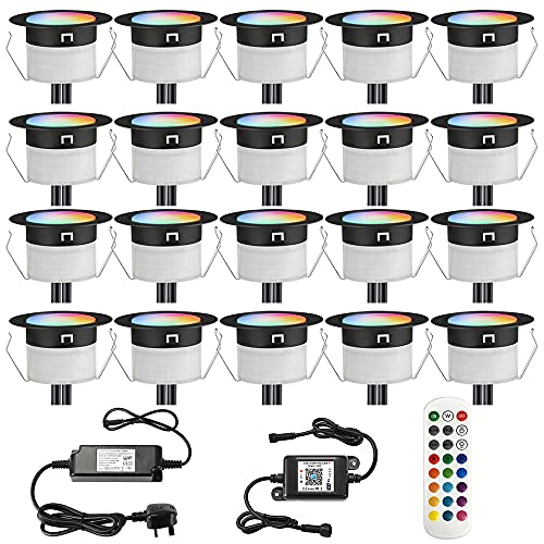 GEYUEYA Home Ø31MM 12V RGB/blanco cálido cambiar colores controlador WiFi impermeable IP67 LED luces de cubierta para patio pasos, decoración de jardín con 24 llaves control remoto - 20 paquetes