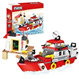 BRICK STORY Fire Rescue Boat Firefighting Series Building Blocks for Kids Age 6-12 Fire Boats Educational Construction Toys Firefighter Play Set Fire Station Learning Toys 318 PCS 4173