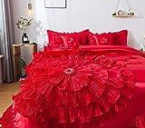 Tache Home Fashion VEHY4174-K Ruffle Comforter Bedding Set, King, Red
