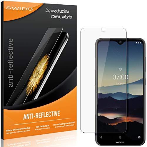SWIDO Schutzfolie für Nokia 7.2 [2 Stück] Anti-Reflex MATT Entspiegelnd, Hoher Festigkeitgrad, Schutz vor Kratzer/Folie, Bildschirmschutz, Bildschirmschutzfolie, Panzerglas-Folie