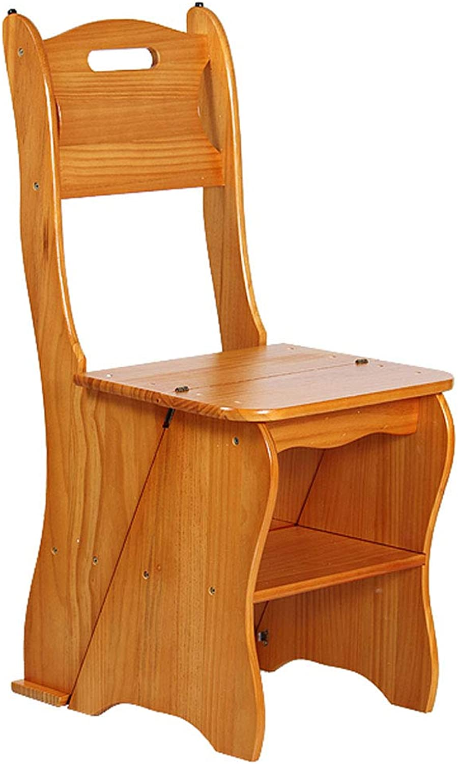 Solid Wood Step Stool Foldable 4-Step Ladder Chair Multi-Purpose Portable Stepladder Household Stair Chair Plant Racks Max Load 150KG (Height  85cm)