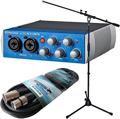 Presonus Audiobox USB 96 Interface + keepdrum MS106 Mikrofon-Stativ + 6m XLR Kabel