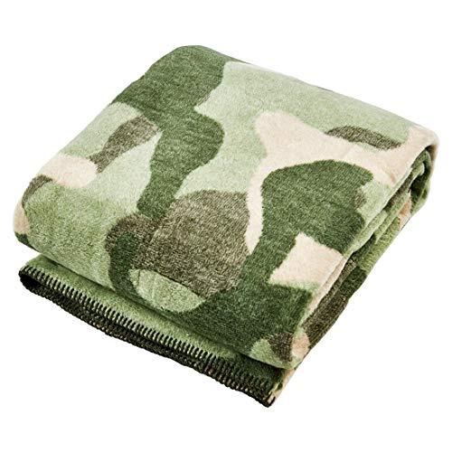 done Wohndecke Camouflage mit gekettelter Ziernaht - Kuscheldecke Khaki Army-Style - 150x200 cm / 30°C waschbar