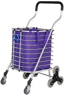 LQBDJPYS 8 Wheels Climbing Stairs Shopping Cart Trolley Aluminium Tri-Wheel Household Vans Lightweight Foldable - Purple F...