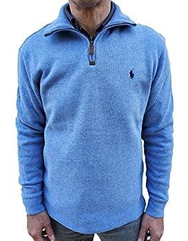 Polo Ralph Lauren Men s Half Zip French Rib Pony Logo Cotton Pullover Sweater  X-Large Blue Heather
