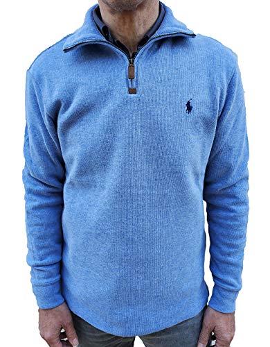 Polo Ralph Lauren Men's Half-Zip Pima Cotton Sweater (Blue HTR, Medium)