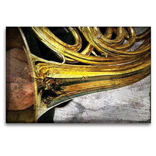 Premium - Lienzo de lienzo (120 x 80 cm, horizontal, diseño de calendario con imagen de instrumental-Kunst, cuadro sobre bastidor, imagen sobre lienzo: cuerno (arte calvendo)