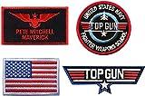 Top Gun Patches - Parche táctico bordado con cierre de gancho y bucle para chaqueta, jean, camiseta, sombrero, 4 unidades