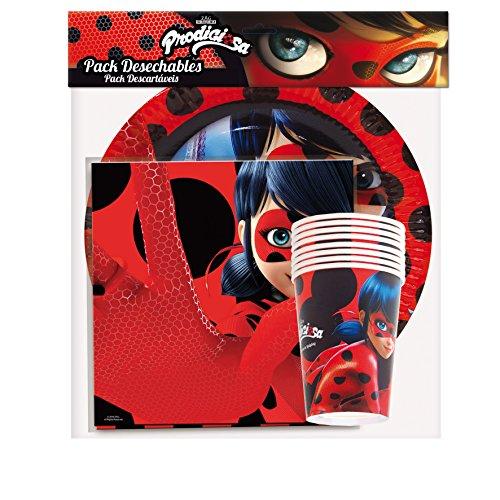 3197; Pack de Fiesta Ladybug; compuesto por 8 platos, 8 vasos y 20 servilletas