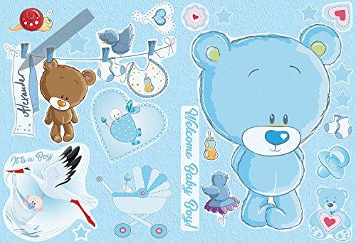 AM Wohnideen Wandsticker selbstklebend/Wandaufkleber/Babyzimmer/Kinderzimmer/Fototapeten Sticker Welcome Baby Boy Kinderzimmer