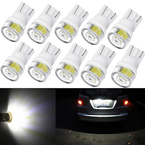 Alla Lighting 10pcs 2W High Power Super Bright 194 168 2825 175 W5W LED Bulbs - 6000K Xenon White Miniature T10 SMD Wedge Lights