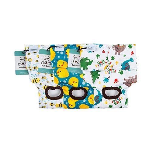 CuteBone Hunde-Windeln für Damen, wiederverwendbar, waschbar, für Welpen, Welpen, Hunde, Menstruation und Inkontinenz, XS, Tiere 3 Stück