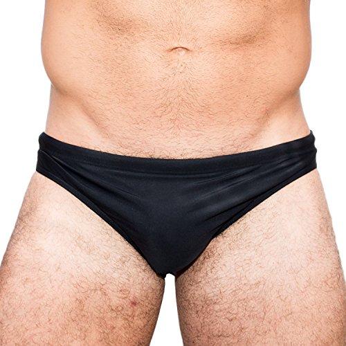 Taddlee Men Swimwear Low Rise Swimsuits Swim Briefs Swimming Solid Sports Bikini (XXL) Black