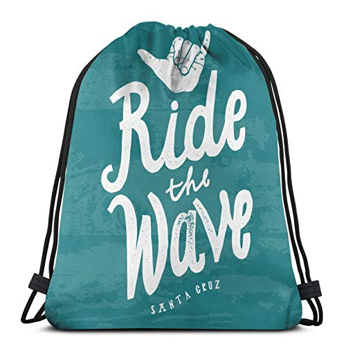 QUEMIN Drawstring Bags Gym Bag,Adjustable Straps Drawstring Bags,Personalized Cinch Bag,for Men/Women Surfboard Ride Wave Surfing Shaka Parks