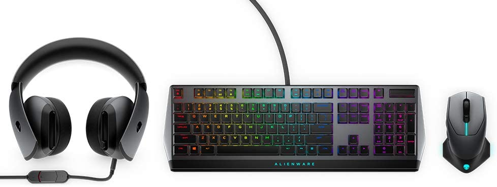 Alienware Gaming Accessories Bundles Wireless/Wired AW610M Mouse, AW510K Keyboard and AW510H Headset (Dark AlienFx RGB Lighting)