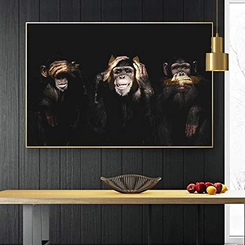 JHGJHK Mono Gorila Animal Imagen Pintura al óleo Mural para la decoración de la Sala de Estar