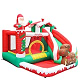 AirMyFun Bounce House Inflatable Christmas Bounce House with Blower Santa Clause Design Bounce House with Long Slide Kids Bouncy House Outdoor Backyard Play Bounce House…
