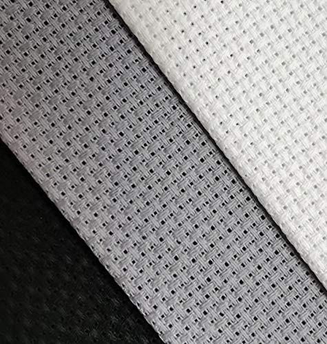 Aida-Stoff, Baumwolle, Kreuzstich, 30,5 x 45,7 cm, 3 Stück, Fadenzahl 14, Weiß + Hellstahlgrau + Schwarz