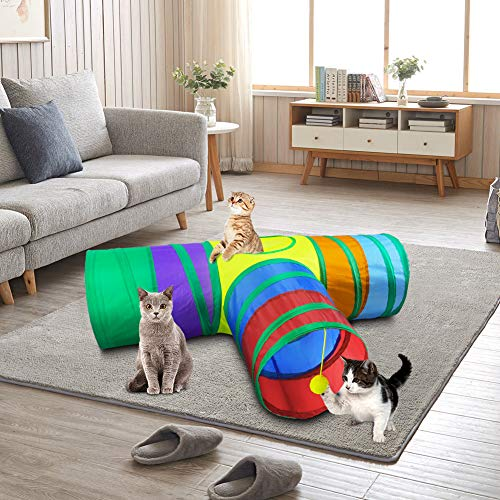 Cat Tunnel with Play Ball, Interactive Peek-a-Boo Cat Chute Cat Tube Toy, Camouflage 3 Way Tunnel for Indoor Cat, Best for Puppy, Kitty, Kitten, Rabbit