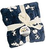 Berkshire Home & Blanket Co. Peanuts Gang Snoopy Happy Dance Velvet Soft Throw Blanket | 50' x 70' | Blue Gray
