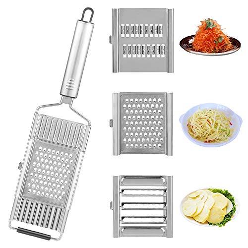 Vegetable Slicer, 4 in 1 Multi-Purpose Vegetable Cutter, Kitchen Slicer, Onion Cutter, Stainless Steel Grater Shredder, Fruit Potato Peeler, Carrot Grater, Kitchen Accessories (Stainless Steel)
