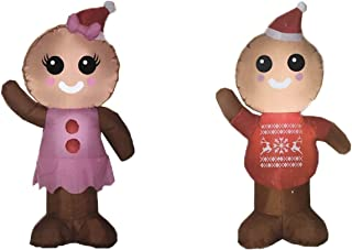 Christmas Inflatable Gingerbread Boy and Girl. The Perfect Couple to Celebrate the Holiday Season. Great for Indoor or Outdoor Decorations.