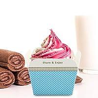 食品グレード使いやすい簡単ピックマフィンケースカップ、カップケーキライナー紙、誕生日を焼くために(Little blue dot)