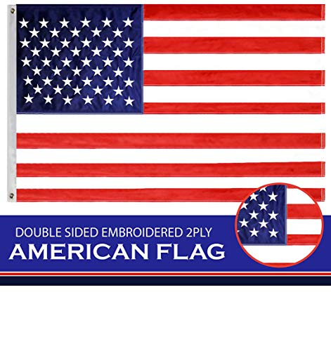 G128 - American Flag USA Flag 3x5 Ft Double Sided Embroidered Stars Sewn Stripes Brass Grommets US Flag 210D Quality Oxford Nylon