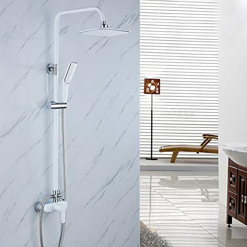 OUKANING Ducha de Lluvia Sistema de Ducha Lacado Blanco Ducha de Mano y Ducha Fija Set de Ducha para baño