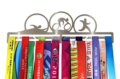 Full Health Sporting Triathlon Zwemmen Fiets Running Medal Hangers Awards Display Medal Houder Rack RVS Muur Gemonteerd Zilver