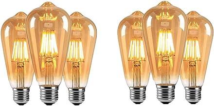 N / A 6 Pack ST64 E27 Edison Schroef Lamp, 6W (60W Equivalent) Gloeilamp, Amber/Helder Glas Klassieke Eekhoorn Kooi Wolfra...