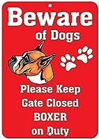 ニース安全警告金属看板、ボクサー犬は楽しいことに注意してください1658警告看板金属プラークポスター鉄の絵画アート装飾バーコーヒーホテルオフィス寝室庭