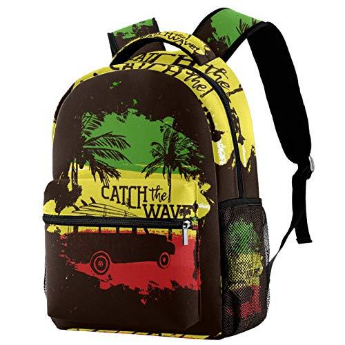 Mochila de verano para coche, tabla de surf, tropical, playa, costa, para adolescentes, escuela, libros, viajes, mochila informal