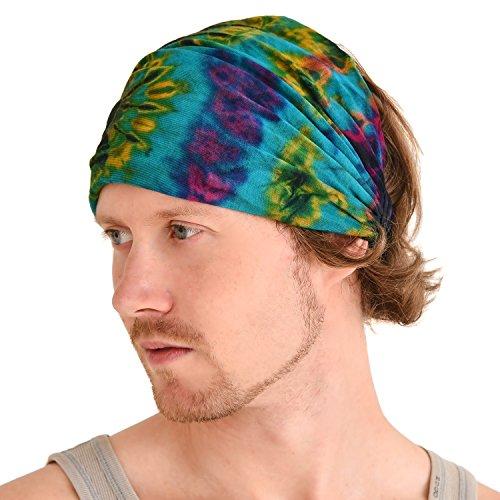 Tie Dye Stirnband Hippie Elastisch Bandana Kopf Abdeckung Wickeln Für Männer & Frauen Psychedelisch Blume Muster 60\'S 71\'S Retro Bohemien Boho A