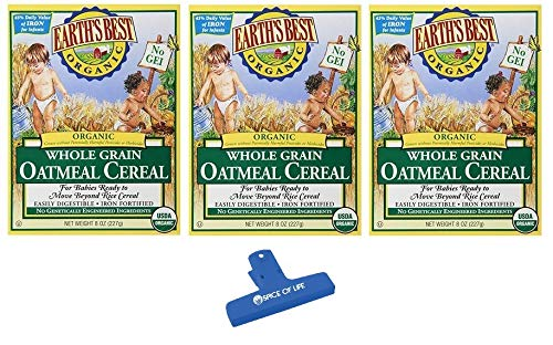 Earth's Best Organic Whole Grain Oatmeal Cereal, 8 oz (Pack of 3) - with Spice of Life Bag Clip