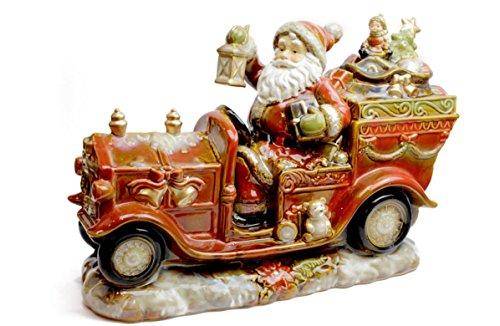 Evviva Company Statua Grande Ceramica Babbo Natale su Camioncino con Pacchi Dono