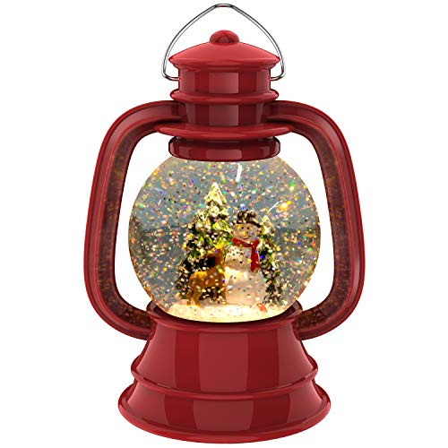 MOFANG FAMILY Christmas Snow Globe Lantern with Swirling Water Glittering - Snowman Scence Xmas Hanging Lantern for Christmas Home Decoration, Holidays Home Decor, Tabletop Decorative and Gift