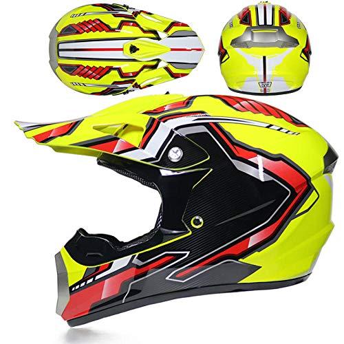 BUETR Casco de moto todoterreno de carreras masculinas de cubierta completa de descenso en bicicleta de barro ATV casco de kart-XL_Pilar amarillo